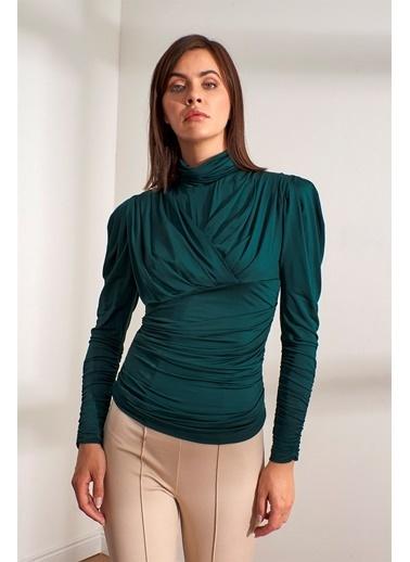 Setre Siyah Balıkçı Yaka Vatkalı Drapeli Bluz Yeşil